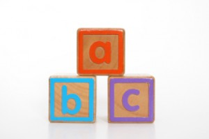 wooden alphabet blocks stacked into a pyramid