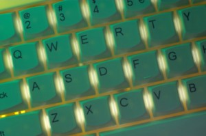 Teal green computer keyboard
