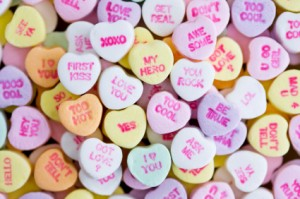 Valentine heart candy messages